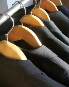 Row of men's suit jackets